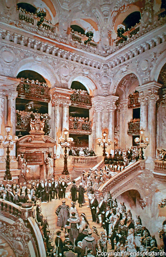 Palais Garnier Opera House,designed by Charles Garnier. Poster of Inauguration of the Paris Opera in 1875 (Édouard Detaille, 1878). Fame generated from Le Fantôme de l'Opéra by Gaston Leroux in 1910. Grand staircase.