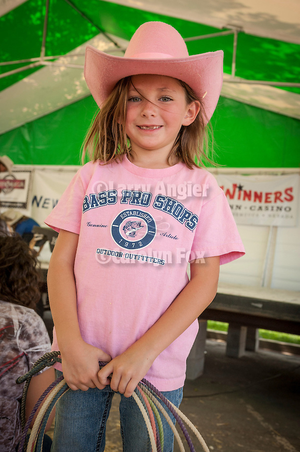Winnemucca's Tri County Fair, Labor Day weekend<br /> <br /> First-time roper Eleanor Watts from Las Vegas tries her hand at dummy roping