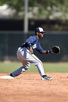Milwaukee Brewers second baseman Franly Mallen (10) during an Instructional League game against the San Francisco Giants on October 10, 2014 at Maryvale Baseball Park Training Complex in Phoenix, Arizona.  (Mike Janes/Four Seam Images)