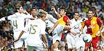 Real Madrid's (withe) Sergio Ramos, Raphael Varane, Fabio Coentrao, Pepe and Gonzalo Higuain and Galatasaray's Gorkhan Zan and Servet Cetin during Santiago Bernabeu Trophy.August 24,2011. (ALTERPHOTOS/Acero)