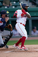 Danny Santana (6) of the Greenville Drive, on a rehab assignment from the Boston Red Sox, in a game against the Bowling Green Hot Rods on Wednesday, May 5, 2021, at Fluor Field at the West End in Greenville, South Carolina. (Tom Priddy/Four Seam Images)