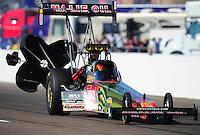 Feb. 18, 2012; Chandler, AZ, USA; NHRA top fuel dragster driver Terry McMillen during qualifying for the Arizona Nationals at Firebird International Raceway. Mandatory Credit: Mark J. Rebilas-
