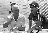 Gene Mauch and Bill Buckner of the California Angels during a 1988 spring training game in Palm Springs,California.(Larry Goren/Four Seam Images)