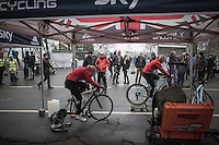 Team GB women warm-up<br /> <br /> UCI Cyclocross World Cup Namur/Belgium 2016