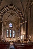 Europe/France/Aquitaine/24/Dordogne/Brantome: La nef et le chœur de l'église abbatiale de l'abbaye Saint-Pierre de Brantôme