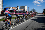 The peloton led by NTT Pro Cycling race the Giro train during Stage 11 of the 103rd edition of the Giro d'Italia 2020 running 182km from Porto Sant'Elpidio to Rimini, Italy. 14th October 2020.  <br /> Picture: LaPresse/Fabio Ferrari | Cyclefile<br /> <br /> All photos usage must carry mandatory copyright credit (© Cyclefile | LaPresse/Fabio Ferrari)