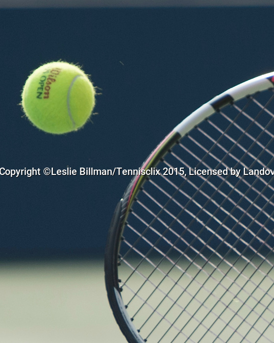 Eugenie Bouchard (CAN) readies her ball and racquet to serve at the US Open in Flushing, NY on September 4, 2015.