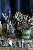 close up of painting equipment