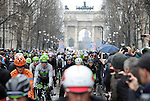 Riders roll out for the start of the 106th edition of the Milan-San Remo 2015 cycle race, Milan, Italy. 22nd March 2015. <br /> Photo: ANSA/Daniel Dal Zennaro/www.newsfile.ie