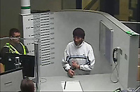 Pictured: CCTV footage showing Simon Winstone (R) in the Merthyr Tydfil Police Station custody unit after being arrested. 29 May 2018<br /> Re: Simon Winstone, 49 has been jailed today (Thu 06 12 2018) at Merthyr Crown Court, after beinn found guilty of murdering Denise Rosser, 38, who was found dead at her home in Bedlinog, near Merthyr Tydfil, at about 6.20am on 29 May 2018.