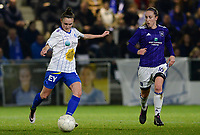 20180126 - OOSTAKKER , BELGIUM : Anderlecht's Rachel Cuschieri (right) pictured watching Gent's Emma Van Britsom (left) during the quarter final of Belgian cup 2018 , a womensoccer game between KAA Gent Ladies and RSC Anderlecht , at the PGB stadion in Oostakker , friday 27 th January 2018 . PHOTO SPORTPIX.BE   DAVID CATRY