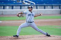 AZL Padres 2 starting pitcher Ramon Perez (16) delivers a pitch to the plate against the AZL Brewers on September 2, 2017 at Maryvale Baseball Park in Phoenix, Arizona. AZL Brewers defeated the AZL Padres 2 2-0. (Zachary Lucy/Four Seam Images)