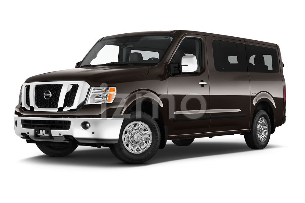Stock pictures of low aggressive front three quarter view of a 2019 Nissan NV Passenger SL 4 Door Passenger Van