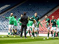 22nd May 2021; Hampden Park, Glasgow, Scotland; Scottish Cup Football Final, St Johnstone versus Hibernian;  Hibs squad warm up before kick off