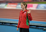 Wales Sally Peake with her Silver medal in the Woman's Pole Vault<br /> <br /> Photographer Ian Cook/Sportingwales<br /> <br /> 20th Commonwealth Games - Day 10 - Saturday 2nd August 2014 - Athletics -  Hamden Park - Glasgow - UK