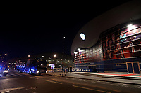 11th March 2020, Parc des Princes, Paris, France; Champions League - Round of 16 Second Leg - Paris St Germain versus Borussia Dortmund;  General view as the Paris St Germain team bus arrives at the stadium before the match which will be played behind closed doors due to the corona virus cases scare