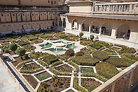 Jaipur, Rajasthan, India.  Amber (or Amer) Palace Gardens.