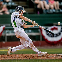 20 June 2021: Vermont Lake Monsters outfielder Sky Rahill, from Burlington, VT, connects for a two-run home-run in the 8th inning against the Westfield Starfires at Centennial Field in Burlington, Vermont. Rahill went 1 for 2 with his homer accounting for all the team scoring as the Lake Monsters fell to the Starfires 10-2 at Centennial Field, in Burlington, Vermont. Mandatory Credit: Ed Wolfstein Photo *** RAW (NEF) Image File Available ***
