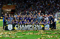 Trophy, Japanese team.  Japan won the FIFA Women's World Cup on penalty kicks after tying the United States, 2-2, in extra time at FIFA Women's World Cup Stadium in Frankfurt Germany.