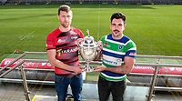 Monday 11th November 2019<br /> <br /> Pictured L-R are City of Armagh RFC 2s Captain John Faloon and Grosvenor RFC Captain Andrew Kelly pictured at the Semi-Final draw of this seasons MMW Legal Ulster Junior Cup which was held at Kingspan Stadium, Ravenhill Park, Belfast, Northern Ireland. Photo credit - John Dickson DICKSONDIGITAL