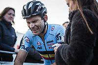 Gianni Vermeersch (BEL) exhausted after finishing. <br /> <br /> UEC CYCLO-CROSS EUROPEAN CHAMPIONSHIPS 2018<br /> 's-Hertogenbosch – The Netherlands<br /> Men Elite Race