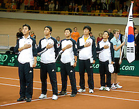 19-9-08, Netherlands, Apeldoorn, Tennis, Daviscup NL-Zuid Korea, Team Korea listning to their national antum