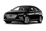 Stock pictures of low aggressive front three quarter view of 2020 Hyundai Ioniq-Electric Shine 5 Door Hatchback Low Aggressive