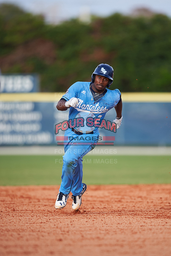 SCF Manatees Keshawn Lynch (2) running the bases during a game against the College of Central Florida Patriots on February 8, 2017 at Robert C. Wynn Field in Bradenton, Florida.  SCF defeated Central Florida 6-5 in eleven innings.  (Mike Janes/Four Seam Images)