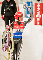 5 December 2015: Julia Taubitz, competing for Germany, carries her sled after her second run of the Viessmann World Cup Women's Luge, with a combined 2-run time of 1:29.013 and a 11th place result at the Olympic Sports Track in Lake Placid, New York, USA. Mandatory Credit: Ed Wolfstein Photo *** RAW (NEF) Image File Available ***