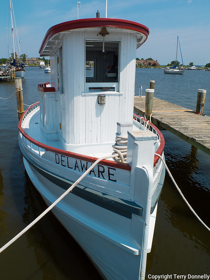 "Chesapeake Bay Maritime Museum, St. Michaels, Maryland<br /> Bow of the historic 1912 wood tugboat ""Delaware"""