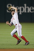 Nebraska Spencer Schwellenbach (1) forces an out, Saturday, June 5, 2021 during the seventh inning in the second game of the NCAA Fayetteville Regional at Baum-Walker Stadium in Fayetteville. Check out nwaonline.com/210606Daily/ for today's photo gallery. <br /> (NWA Democrat-Gazette/Charlie Kaijo)