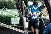 Matteo Jorgenson (USA/Movistar) getting on the teambus post-race, showing proof of his earlier crash<br /> <br /> 106th Liège-Bastogne-Liège 2020 (1.UWT)<br /> 1 day race from Liège to Liège (257km)<br /> <br /> ©kramon