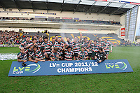 Leicester Tigers celebrate winning the LV= Cup Final match between Leicester Tigers and Northampton Saints at Sixways Stadium, Worcester on Sunday 18 March 2012 (Photo by Rob Munro, Fotosports International)