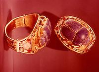 Egypt:  Scarab Bracelet--gold with gems.  Treasures of Tutankhamun,  Cairo Museum.  MMA 1976.