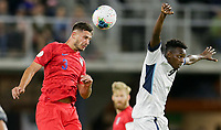 WASHINGTON, D.C. - OCTOBER 11: Matt Miazga #3 of the United States heads a ball out of trouble during their Nations League game versus Cuba at Audi Field, on October 11, 2019 in Washington D.C.