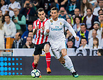 Cristiano Ronaldo (R) of Real Madrid fights for the ball with Inigo Lekue (L) of Athletic Club de Bilbao during the La Liga 2017-18 match between Real Madrid and Athletic Club Bilbao at Estadio Santiago Bernabeu on April 18 2018 in Madrid, Spain. Photo by Diego Souto / Power Sport Images