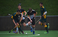 Action from the Wellington premier one men's hockey match between Harbour City and Victoria University at National Hockey Stadium in Wellington, New Zealand on Saturday, 26 June 2021. Photo: Dave Lintott / lintottphoto.co.nz