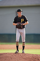 Bristol Pirates relief pitcher John O'Reilly (50) gets ready to deliver a pitch during the first game of a doubleheader against the Bluefield Blue Jays on July 25, 2018 at Bowen Field in Bluefield, Virginia.  Bluefield defeated Bristol 6-3.  (Mike Janes/Four Seam Images)