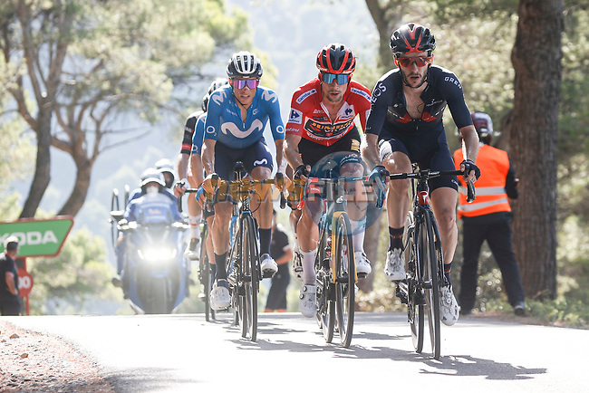 Adam Yates (GBR) Ineos Grenadiers, Red Jersey Primoz Roglic (SLO) Jumbo-Visma and Enric Mas (ESP) Movistar Team on the front of the GC group during Stage 7 of La Vuelta d'Espana 2021, running 152km from Gandia to Balcon de Alicante, Spain. 20th August 2021.     <br /> Picture: Luis Angel Gomez/Photogomezsport | Cyclefile<br /> <br /> All photos usage must carry mandatory copyright credit (© Cyclefile | Luis Angel Gomez/Photogomezsport)