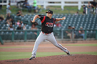 Jose Garcia (39) of the Lake Elsinore Storm pitches against the Inland Empire 66ers at San Manuel Stadium on July 25, 2021 in San Bernardino, California. (Larry Goren/Four Seam Images)