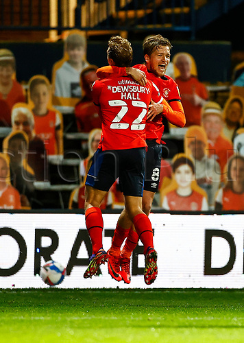 21st November 2020; Kenilworth Road, Luton, Bedfordshire, England; English Football League Championship Football, Luton Town versus Blackburn Rovers; Luke Berry of Luton Town scores and celebrates with Kiernan Dewsbury-Hall of Luton Town 1-0 in the 69th minute