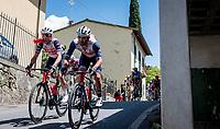 Vincenzo Nibali (ITA/Trek-Segafredo) & Jacopo Mosca (ITA/Trek - Segafredo) at a crazy fast descent mid-race<br /> <br /> 104th Giro d'Italia 2021 (2.UWT)<br /> Stage 12 from Siena to Bagno di Romagna (212km)<br /> <br /> ©kramon