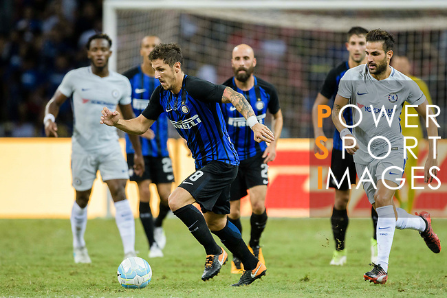 FC Internazionale Forward Stevan Jovetic (L) in action during the International Champions Cup 2017 match between FC Internazionale and Chelsea FC on July 29, 2017 in Singapore. Photo by Weixiang Lim / Power Sport Images