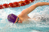 Fayetteville's Samuel Brooks competes Saturday, Feb. 13, 2021, in the 200-yard freestyle during the Class 6A-West Conference Swim Championships at the Jones Center in Springdale. Visit nwaonline.com/210214Daily/ for today's photo gallery. <br /> (NWA Democrat-Gazette/Andy Shupe)