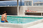 Swimming pool and terrace on the roof of l'Hotel le Corbusier, Marseille, 16.06.2011
