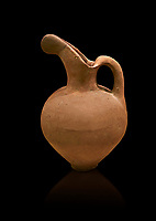 Hittite long neck beak spout pitcher. Hittite Old Period, 1650 - 1450 BC. Huseyindede. Çorum Archaeological Museum, Corum, Turkey. Against a black bacground.