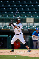 Bradenton Marauders Lolo Sanchez (18) bats during a Florida State League game against the St. Lucie Mets on July 28, 2019 at LECOM Park in Bradenton, Florida.  Bradenton defeated St. Lucie 7-3.  (Mike Janes/Four Seam Images)