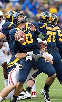BERKELEY, CA - NOVEMBER 20, 2010: Taylor Skaufel makes a sack during Stanford's 48-14 win over the University of California, Berkeley, at Memorial Stadium in Berkeley, California.