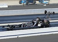 Feb. 16, 2013; Pomona, CA, USA; NHRA top fuel dragster driver Shawn Langdon during qualifying for the Winternationals at Auto Club Raceway at Pomona.. Mandatory Credit: Mark J. Rebilas-