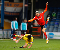 3rd October 2020; Kenilworth Road, Luton, Bedfordshire, England; English Football League Championship Football, Luton Town versus Wycombe Wanderers; Joe Jacobson of Wycombe Wanderers tackles Harry Cornick of Luton Town